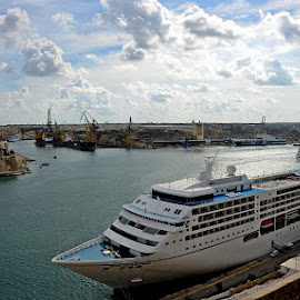 Cruise Liners at the Grand Harbor by Francis Xavier Camilleri - Transportation Boats ( clouds, cruiseship, malta, valletta, sea, grand harbor, architecture )