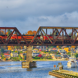Multimodal by Briand Sanderson - Transportation Trains ( marine, bnsf, pano, trustle, great northern, drawbridge, railroad, train, burlington northern, bridge, santa fe, bascule )