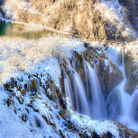 Winter Falls by Peter Kennett - Landscapes Travel ( plitvice, winter, park, snow, waterfall, croatia )