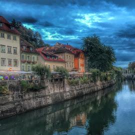 Ljubljana by Mario Horvat - Instagram & Mobile iPhone ( clouds, reflection, sky, ljubljana, city, river )