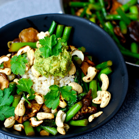 Shiitake Asparagus Stir Fry With Toasted Cashews and Wasabi Avocado ...