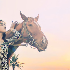 Girls and Horses by Cevi Permana - People Portraits of Women