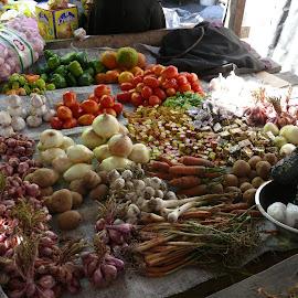 Vegetable Market by Bill Coan - Food & Drink Fruits & Vegetables ( fruit, gonaives, market, vendor, vegetables, haiti )