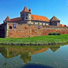 Cetatea Fagaras by Dobrin Anca - Buildings & Architecture Public & Historical ( holiday, reflection, waterscape, romania, castle )