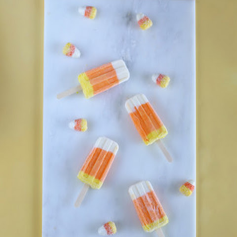 Candy Corn Greek Yogurt Popsicles