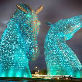 The Kelpies at Night by Jakki Kyle - City,  Street & Park  Night ( illuminated, scotland, park, night, structures )