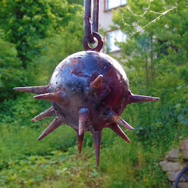 FOR SELF-DEFENSE by Wojtylak Maria - Artistic Objects Other Objects ( hanging, old, decoration, metallic, outside, iron )