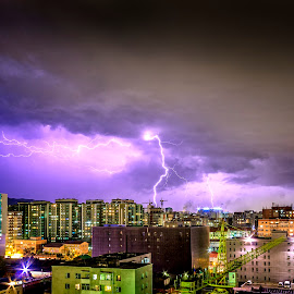 Storm clouds and lightning over the UB city by Boldbaatar Tsend - Landscapes Weather