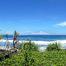 """""""The sea is emotion incarnate. It loves, hates, and weeps. It defies all attempts to capture it with words and rejects all shackles. No matter what you say about it, there is always that which you can't."""" ― Christopher Paolini, Eragon at Mangsit, Lombok, IndonesiaMon, 2014:04:21 10:32:47Taken with iPhone 5©Nikita Hengbok by Nikita Hengbok - Landscapes Travel ( tranquil, relax, indonesia, beach, lombok, tranquility, relaxing )"""