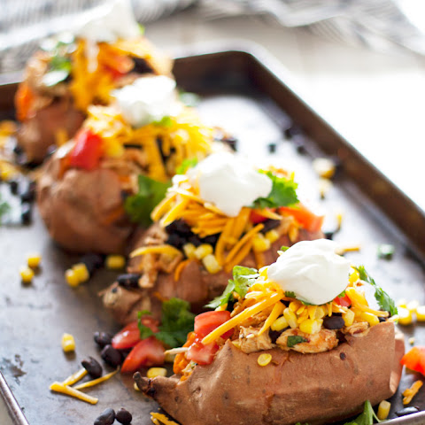 Loaded Sweet Potatoes With Spicy Shredded Chicken