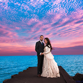 Lakeshore shoot by Imran Belim - Wedding Bride & Groom ( sea beach, evening shoot canon mark 3 )
