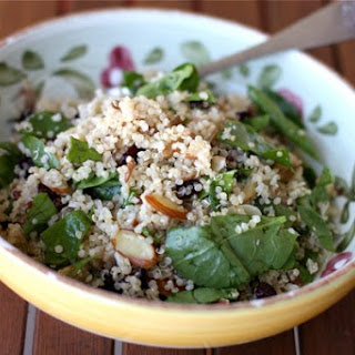Nutty Quinoa Salad with Cranberries and Fresh Spinach