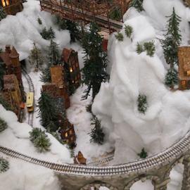 by Beth Collins - Public Holidays Christmas ( holiday, railroad tracks, columbus, winter, ohio, railroad, train, model train, tracks, miniature,  )