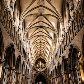 Nave Roof in Wells Cathedral. by Simon Page - Buildings & Architecture Places of Worship