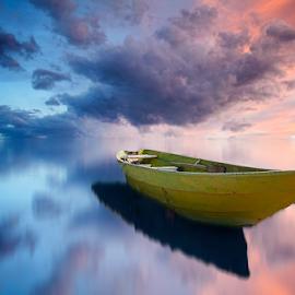 Floating Boat   Velipoj by Fisnik Halili - Landscapes Waterscapes ( water, sunset, kosovo, long exposure, boat, albania )