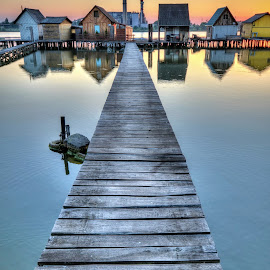Bokod by Péter Mocsonoky - Landscapes Waterscapes ( calm, hungary, wooden, sunset, pier, lake, tranquility, evening, bokod, watter )