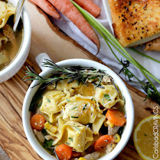 One Pot Lemon Chicken Tortellini Soup