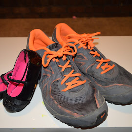 small and large  by Michele Kelley - Novices Only Objects & Still Life ( shoes, orange, pink, small, large )