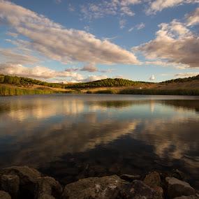 Mirror lake by Nuno Miguel Valente - Landscapes Waterscapes ( clouds, water, sky, nature, alentejo, alqueva, landscape, reflexion, portugal,  )