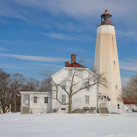 Sandy Hook Lighthouse in New Jersey / Winter scenery by Jan Gorzynik - Buildings & Architecture Public & Historical ( shore, home, america, gateway, jersey, lighthouse, us, house, beach, usa, united states, historic, new jersey, sandy hook, national park, tower, winter, residence, snow, colonial, beacon, nj, light )