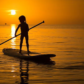 Island Girl by Troy Wheatley - Babies & Children Children Candids ( child, water, girl, sunset, paddleboard )