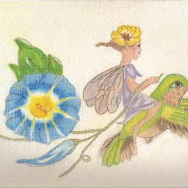 Humming Bird Fairy by Melanie Goins - Drawing All Drawing ( flying, girl, hummingbird, fairy, flower,  )