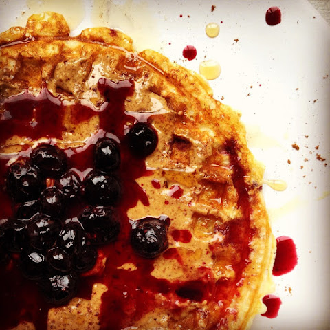 Cinnamon Toast Yeasted Waffles with Almond Butter, Maple Syrup, and Blueberries
