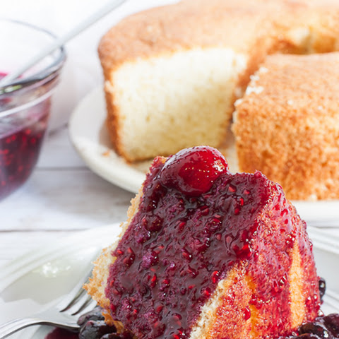 Lemon Sponge Cake with Berry Compote