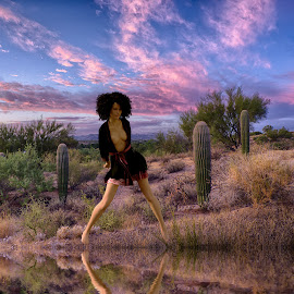 Desert Lady by Charlie Alolkoy - Digital Art People ( desert, nude, 3d, landscape, people )