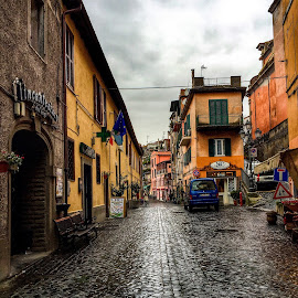 Nemi, Italia by Bianca Enache - City,  Street & Park  Street Scenes ( tourist, italia, beautiful, street, nemi, buildings, travel, rain )