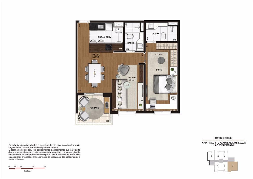 Planta 68 m² do 1 ao 7 Pavimento OPÇÃO - Final 3 (Torre Vitrine)