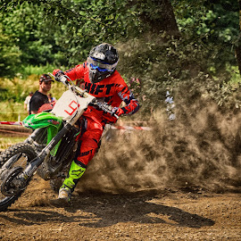 Mr. Shift by Marco Bertamé - Sports & Fitness Motorsports ( curve, drifting, slittering, green, nine, number, race, red, motocross, shadow, dust, clumps, 9, alone, shift, accelerating, competition )
