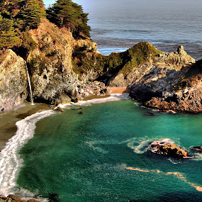 McWay Falls by Clyde Smith - Landscapes Beaches ( big sur, waterfall, ocean, beach, coast )