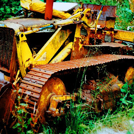 rusty bulldozer by Dean Moriarty - Transportation Other ( bulldozer, vehicle, tracked, yellow, rusty, abandoned )