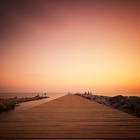Sunset le by Ömür Kahveci - Landscapes Waterscapes ( fishermen, sunset, pier, long exposure, turkey )