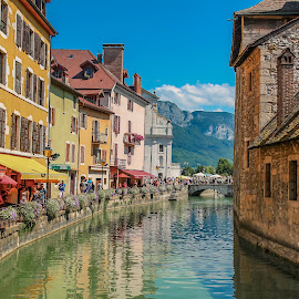 Annecy by Nikolas Ananggadipa - City,  Street & Park  Street Scenes ( riverside, street, neighborhood, france, river, city )