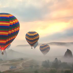 Flying over Cappadocia by Rafael Uy - Landscapes Travel ( flying, hot air balloon, turkey, cappadocia, air, transport )
