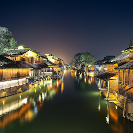 Water Village by Crispin Lee - Buildings & Architecture Homes ( lights, street, travel, nightscape, china )