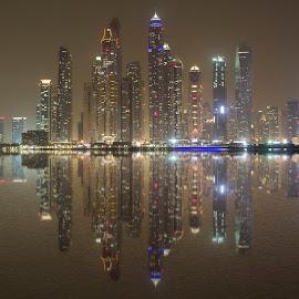 Skyline Dubai Marina by Maliha Hussain - Buildings & Architecture Architectural Detail ( lights, water, skyline, reflection, dubai, tall building, shadow, buildings, dubai marina )