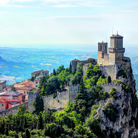 Fortress of Guaita... overlooking the Italian countryside... by Avishek Patra - Landscapes Travel ( tower, europe, fortress, san marino, tourism, travel, architecture, landscape, emilia romagna, italy )