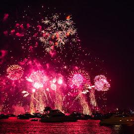 Light enough for reading by Richard Duerksen - Abstract Fire & Fireworks ( australia day, perth, australia, fireworks, red light )