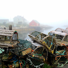 Lobster traps and fog by Tracy Munson - Instagram & Mobile iPhone ( lobster traps, peggy's cove, nova scotia, ocean, morning, fishing village, dock, village, fog, pier, fishing, wharf, maritime, quaint, mist, World, Beauty, Beautiful, Representing, Special, relax, tranquil, relaxing, tranquility )
