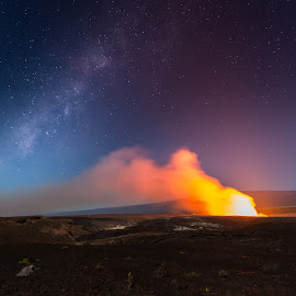 Volcanic Evening  by Jared Goodwin - Landscapes Travel ( hills, moon, mountain, volcanic, travel, landscape, heat, photography, moonrise, milky way, parade, mountains, volcano, shadow, milk, hawaii, milkyway, hill, plume, paradise, smoke, moonlight, shadows, fire, lava, stars, volcanoes, full moon, landscapes, smoking volcano )