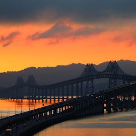 by Robin Rawlings Wechsler - Buildings & Architecture Bridges & Suspended Structures ( water, dawn, nature, san francisco bay, bay, seascape, sunrise, architecture, bridge, landscape )