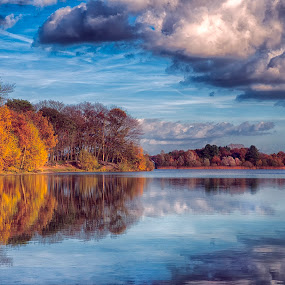 blue mirror by Egon Zitter - Landscapes Waterscapes ( reflection, blue, autumn, fall, lake )