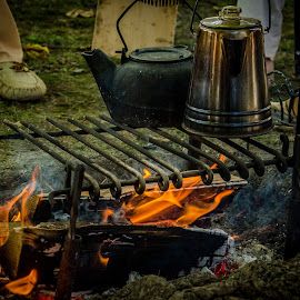 Tea over the camp fire by Florin Marksteiner - Artistic Objects Antiques ( vintage, tecumseh, tea, tribal confederacy, war of 1812, united states, united kingdom, american army, teapot, first nations, history, thames, moraviantown, british army, campfire, antique, upper canada )