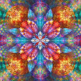 Julian Splits Crop by Peggi Wolfe - Illustration Abstract & Patterns ( abstract, wolfepaw, jwildfire, gift, unique, bright, illustration, fun, digital, crop, print, décor, pattern, color, unusual, split, julian, fractal, rainbow )