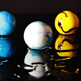Three Worlds by Peter Salmon - Artistic Objects Other Objects ( blue, three, marbles, yellow, worlds )