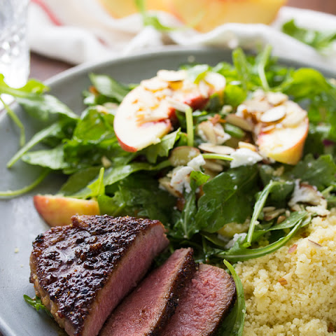 Brown Sugar-Chili Lamb Chops with Peach-Arugula Salad