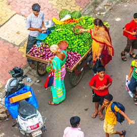 The Street below by Hariharan Venkatakrishnan - City,  Street & Park  Street Scenes ( peopl, students, street, children, cart )